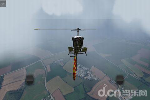 模拟游戏,共有六架不同的直升机可以选择,使用虚拟摇杆控制飞机的起降